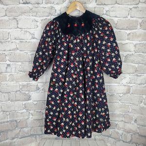 Vintage Pierre Cardin Paris Cottagecore Floral A Line Dress Navy 6X